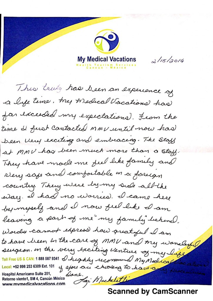 MINI FACELIFT AND BREAST HANDWRITTEN LIFT TESTIMONIAL FROM MONTANA, USA