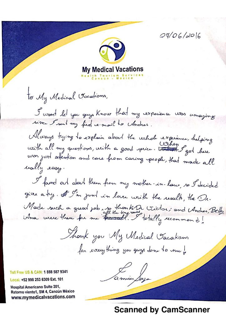 BREAST AUGMENTATION HANDWRITTEN TESTIMONIAL FROM SEATTLE, WA. USA