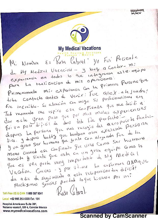 MOMMY MAKEOVER HANDWRITTEN TESTIMONIAL IN SPANISH FROM CALIFORNIA, USA