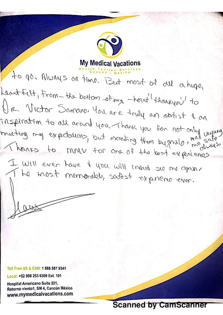 TUMMY TUCK AND LIPOSCULPTURE HANDWRITTEN TESTIMONIAL FROM TERRANOVA AND LABRADOR, CANADA