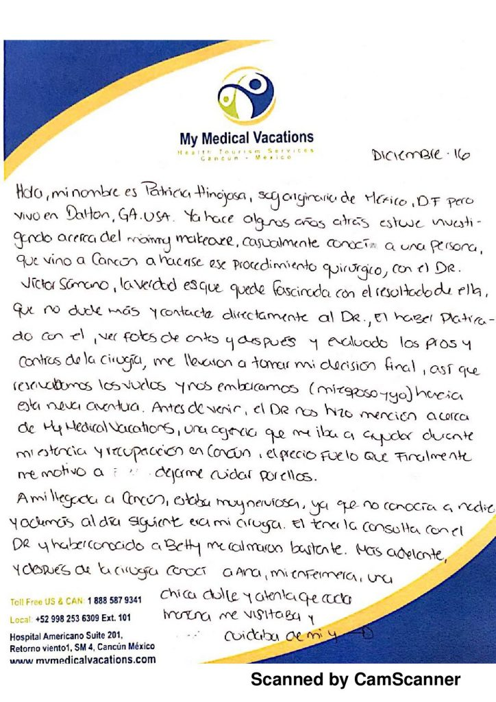 HANDWRITTEN TESTIMONIAL MOMMY MAKEOVER EN ESPAÑOL DE GEORGIA, USA
