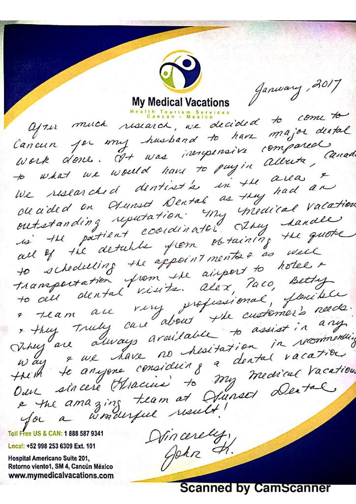 Medical Vacations Tourism Mexico Cancun Dentistry Testimonial from Calgary, Canada 1