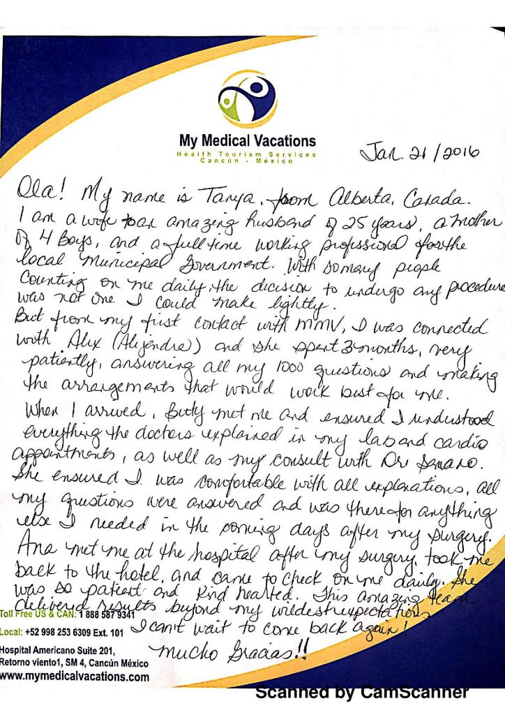 Mommy Makeover + Arm Lift Handwritten Testimonial from Calgary, Canada