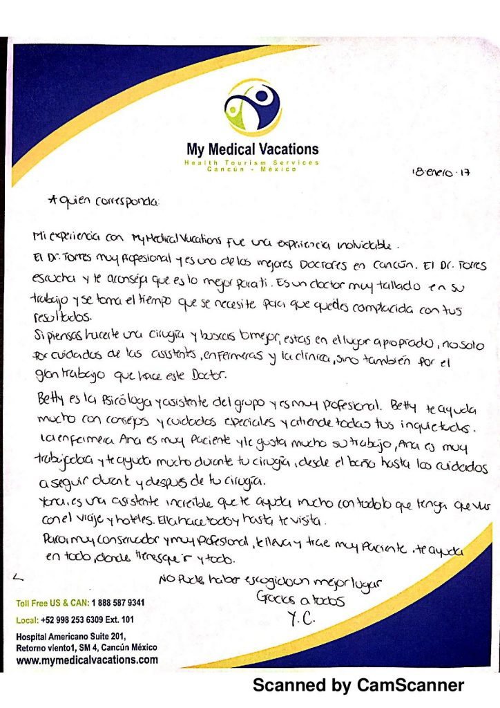 TUMMY TUCK + FACIAL REJUVENATION AND BRAZILIAN BUTTOCK HANDWRITTEN TESTIMONIAL FROM INDIANA, USA ESPAÑOL