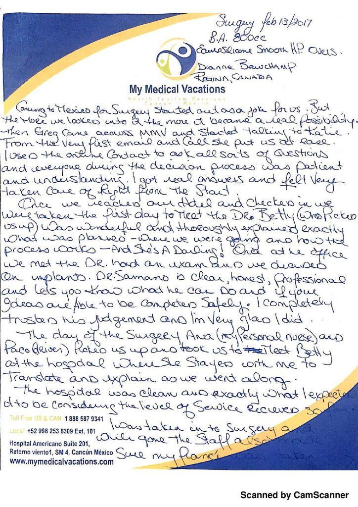 Medical Vacations Tourism Mexico Cancun BREAST IMPLANT TESTIMONIAL FROM SASKATCHEWAN, CANADA 1