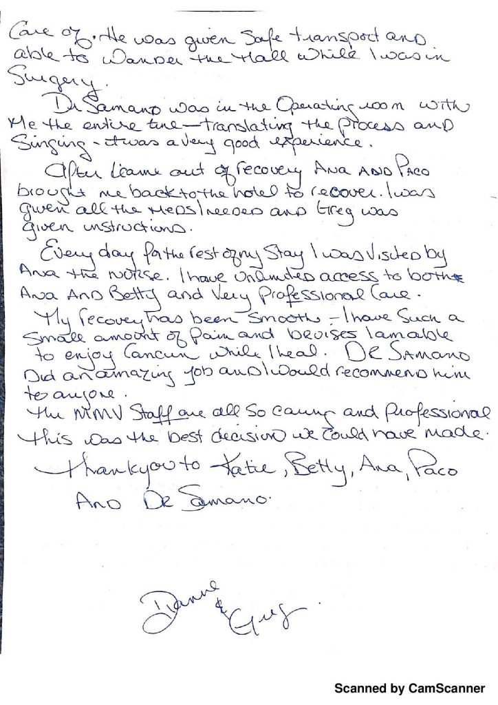 BREAST IMPLANT HANDWRITTEN TESTIMONIAL FROM SASKATCHEWAN, CANADA