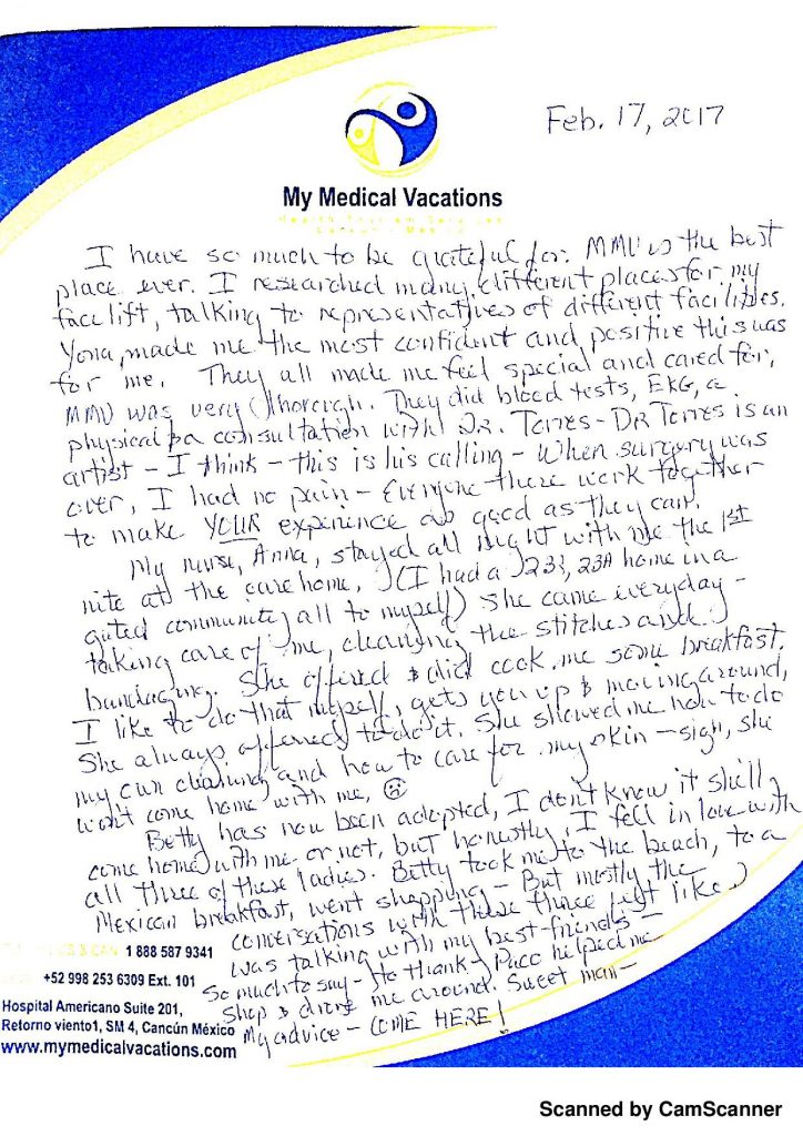 CANCUN FACELIFT HANDWRITTEN TESTIMONIAL FROM ARIZONA, USA