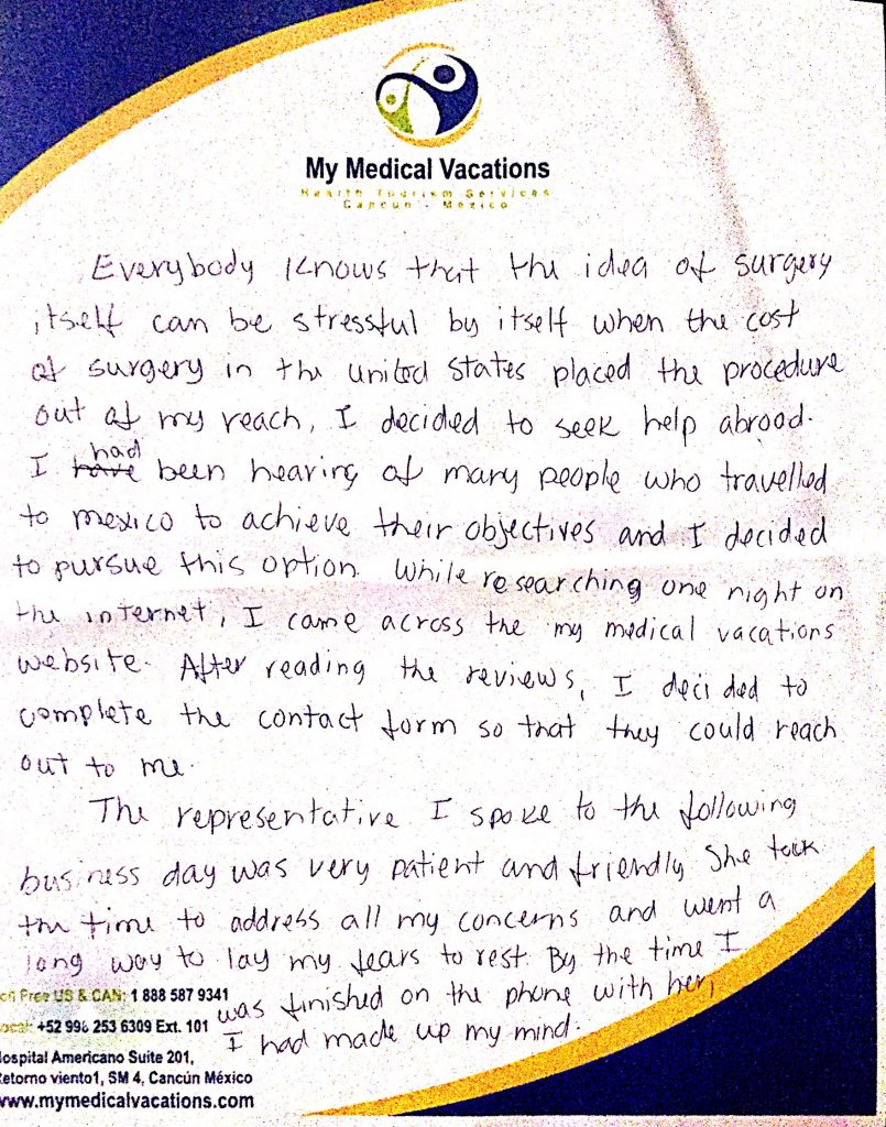 Medical Vacations Tourism Mexico Cancun BREAST REDUCTION TESTIMONIAL FROM CALIFORNIA, USA 0