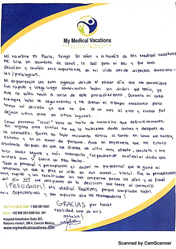 Medical Vacations Tourism Mexico Cancun TESTIMONIAL AUMENTO MAMARIO DE CANCUN, MEXICO 1