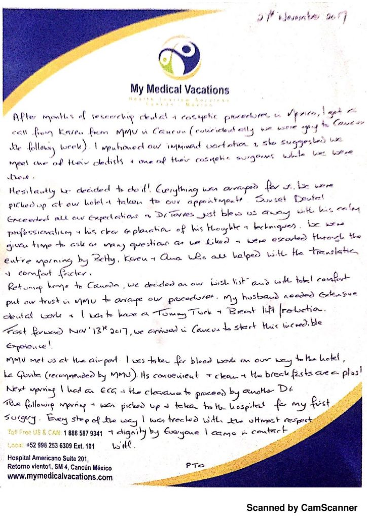 Medical Vacations Tourism Mexico Cancun Mommy Makeover and Dentistry Testimonial from Edmonton, Canada 1