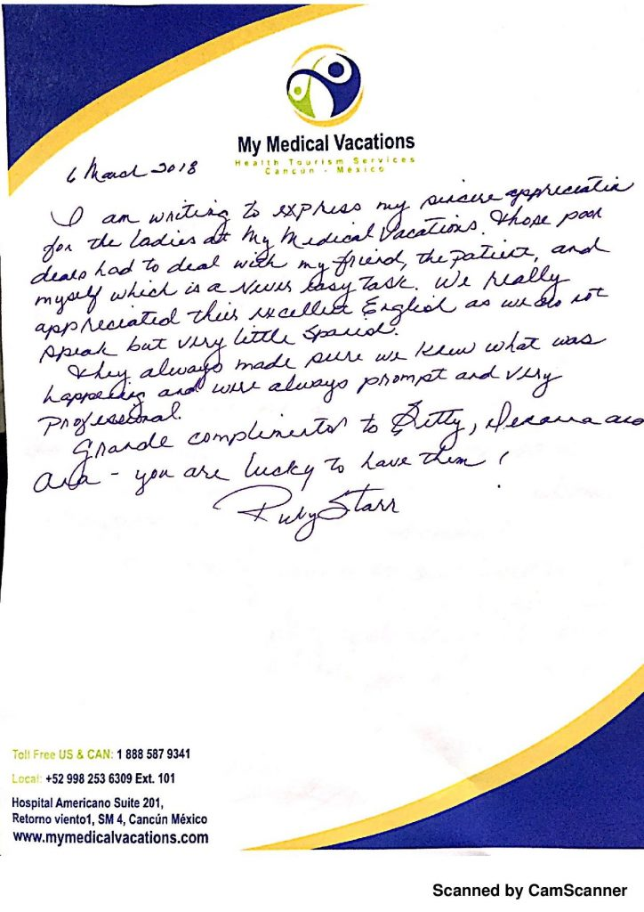 Medical Vacations Tourism Mexico Cancun Testimonial from Companion – My Medical Vacations 3
