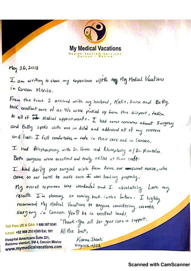 Medical Vacations Tourism Mexico Cancun Rhinoplasty and Blepharoplasty Testimonial from Virginia, USA 1