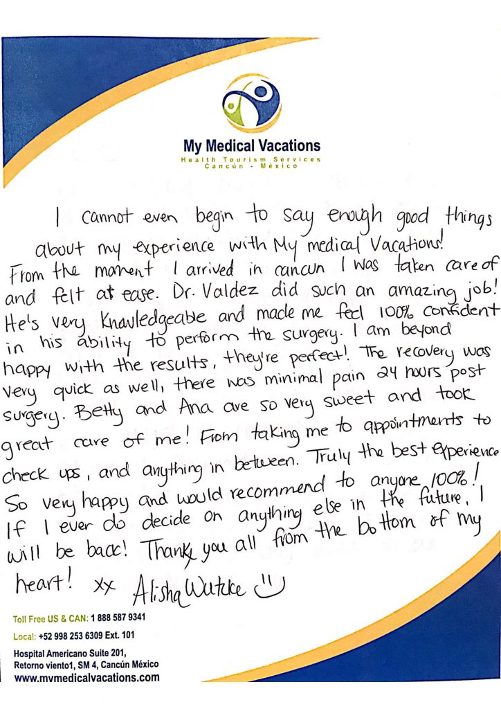 Medical Vacations Tourism Mexico Cancun Breast Implant Testimonial from Alberta, Canada 0