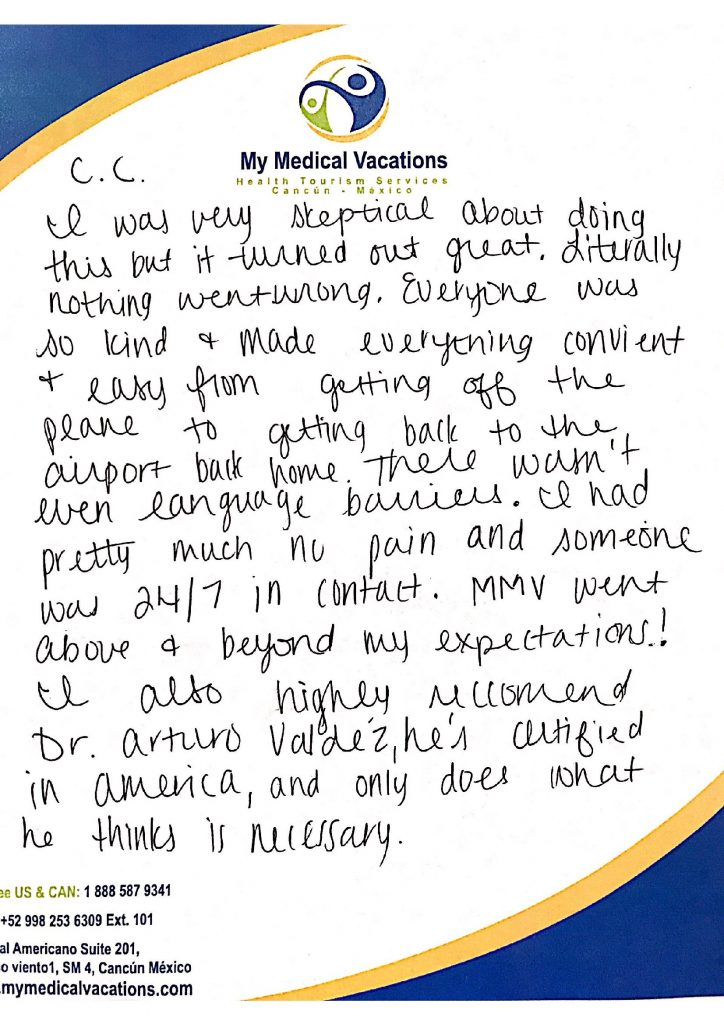 Medical Vacations Tourism Mexico Cancun Rhinoplasty Testimonial from Tennessee, USA 1