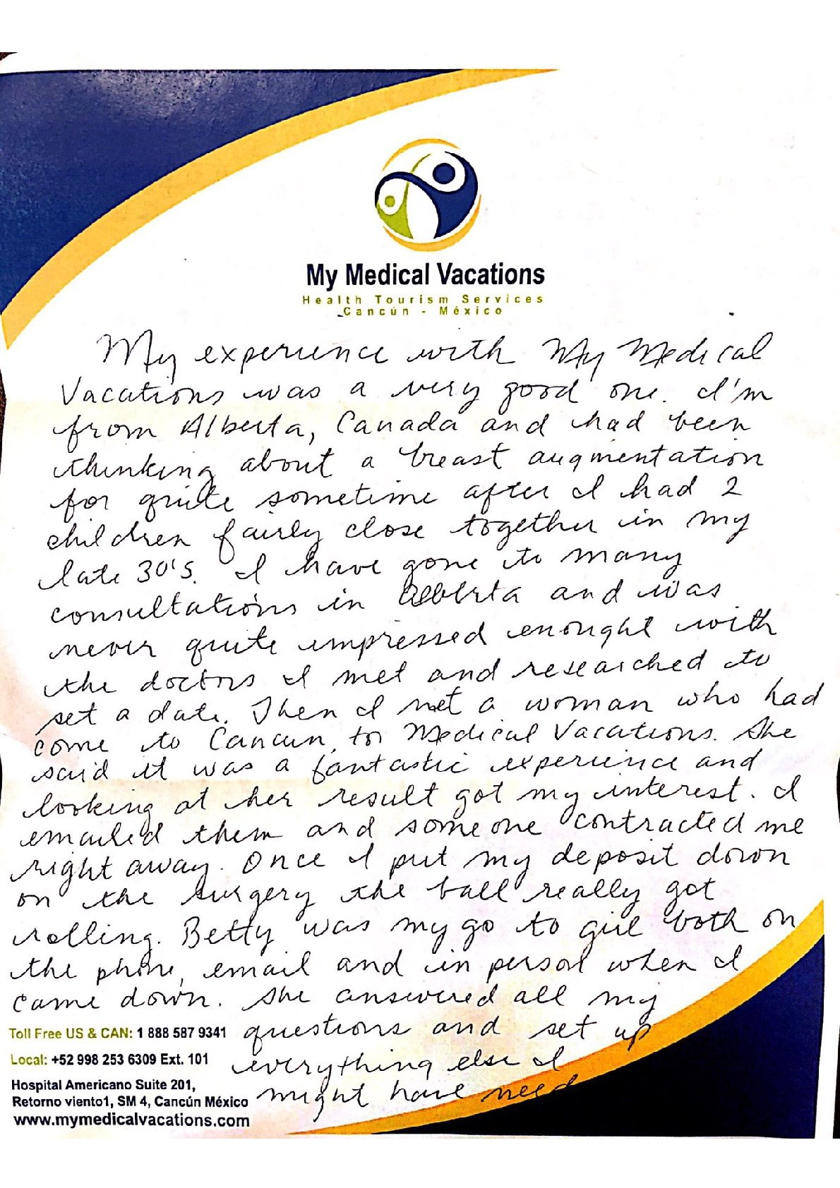 Medical Vacations Tourism Mexico Cancun Breast Augmentation Testimonial from Alberta Canada. 1