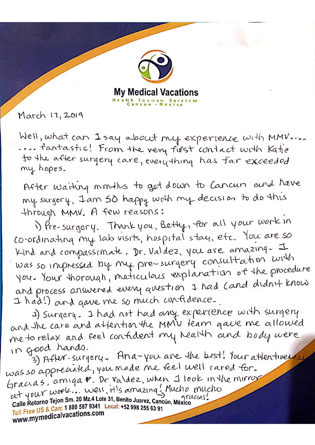 Medical Vacations Tourism Mexico Cancun Breast Implant Testimonial from Alberta 1